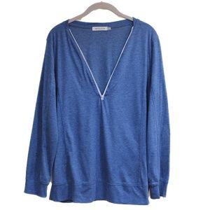 Blue Long Sleeve Zipper Tee